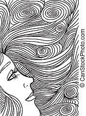 Abstract sketch of woman face Vector illustration