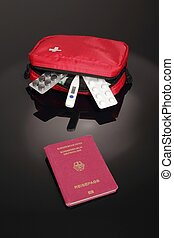 First Aid travel kit with german passport