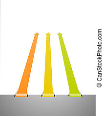 three perspective arrows
