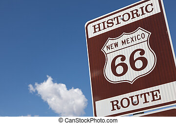 A Historic Route 66 road sign
