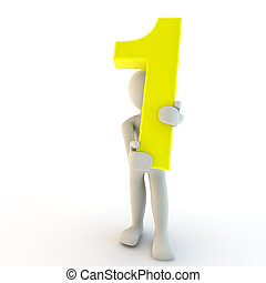 3D Human character holding yellow number one, small people