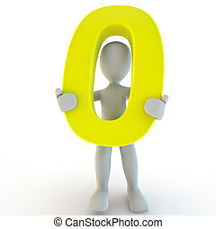 3D Human character holding yellow number zero, small people