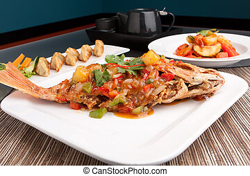 Red Snapper with Tamarind Sauce - Freshly prepared Thai...