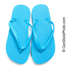 Light blue flipflops on a white background - A pair of light...