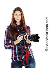 digital camera - Pretty young woman taking pictures on the...