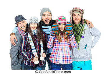 laughing people - Group of cheerful young people in autumn...