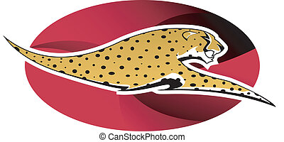 Cheetah logo - Digital illustration: wild cheetah on red...
