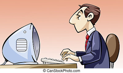 Employee working at his computer - Illustration of an...