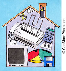 Home office - Hand made watercolor illustration: Working at...