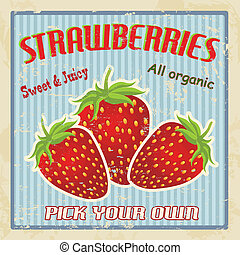 Strawberry vintage poster - Strawberries vintage grunge...