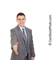businessman - Handsome young excited business man happy...