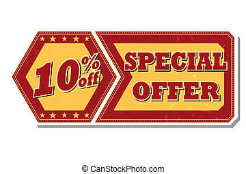 10 percentages off special offer - retro label - 10...