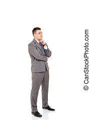 businessman - Businessman think pondering look to empty copy...