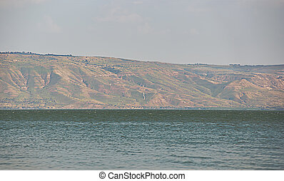 Sea of Galilee . - Kinneret. View of the Golan. Northern...