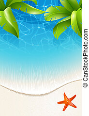 Palm leaves over water - Sunny summer background for design...