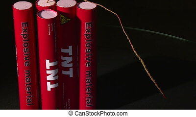 Explosive TNT, fuse, burning, extinguished wick
