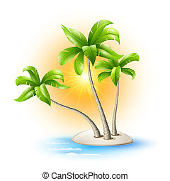 Island with palm trees - Island in the sea with coconut...