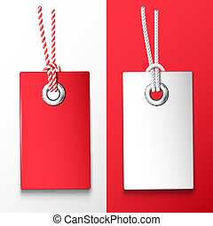 Price tags - Two red and white price tag. Vector design...