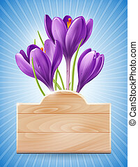 Spring Design with Flowers - Wooden sign and spring flowers...