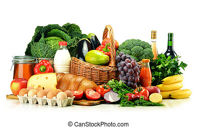 Grocery products including vegetables, fruits, dairy and...