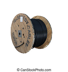 electricity cable on wooden spools on construction