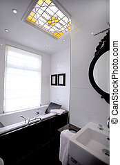 part of bathroom - modern bathroom with stained-glass window
