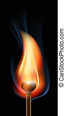 Burning match in the form of heart
