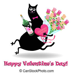 Valentines day card with cat