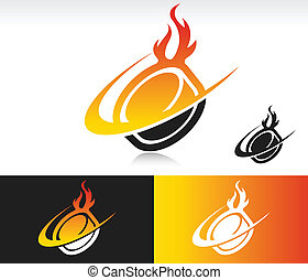 Fire Swoosh Hockey Puck Icon - Hockey puck icon with fire...