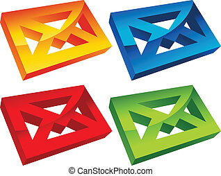Colorful 3D Envelope Mail Icons