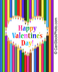 Valentine's day card with heart of colored pencils