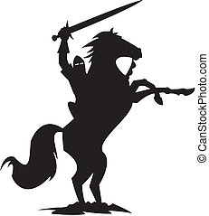 black knight - A silhouette of a knight on horseback, the...