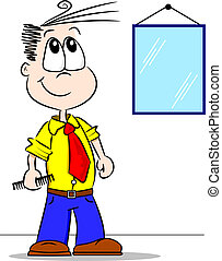 Cartoon Boy with Comb - A smartly dressed cartoon boy who...