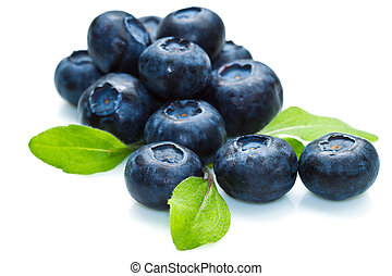 blue berry over white background and green leaf