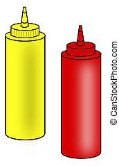 salsade tomate, mostaza, apretón, botellas