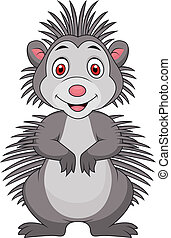 Cute porcupine cartoon - Vector illustration of cute...