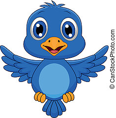 Cute blue bird cartoon flying - Vector illustration of cute...