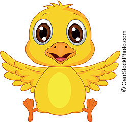 Cute baby chicken cartoon - Vector illustration of cute baby...