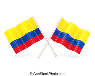 Flag of colombia - Two wavy flags of colombia isolated on...