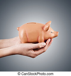 hands holding pink pig piggy bank, economics and finance