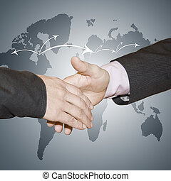 greeting business people with world map background