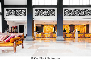 Lobby - The hotel, luxurious decoration inside.