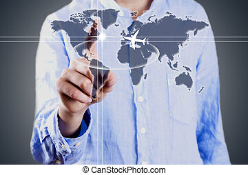 businessman with world map, business