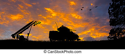 Anti-Aircraft Missile and Tank Silhouette - Silhouette of a...