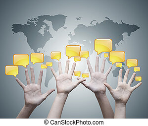 open hands with sandwiches communication, social network