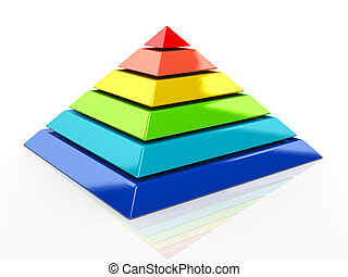 3d pyramid - 3d illustration of colorful pyramid