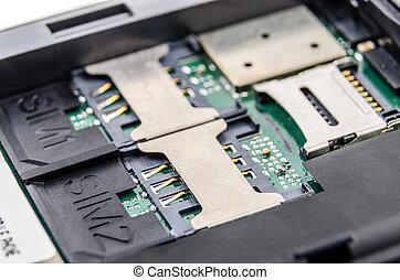 Slot for dual SIM cards. Photo Close-up