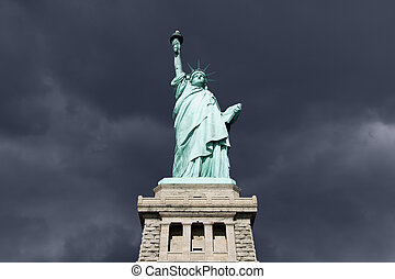 Statue of Liberty Thunderstorm - An upshot of the statue of...
