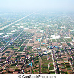 Aerial view of rural China