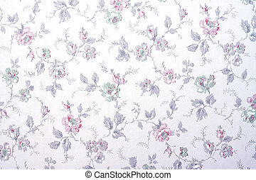 Wallpaper with flowers - A vintage old wallpaper from the...